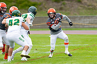 KELOWNA, BC - SEPTEMBER 22:  Tyler Going #20 of Okanagan Sun runs on the field after receiving the ball against the Valley Huskers at the Apple Bowl on September 22, 2019 in Kelowna, Canada. (Photo by Marissa Baecker/Shoot the Breeze)