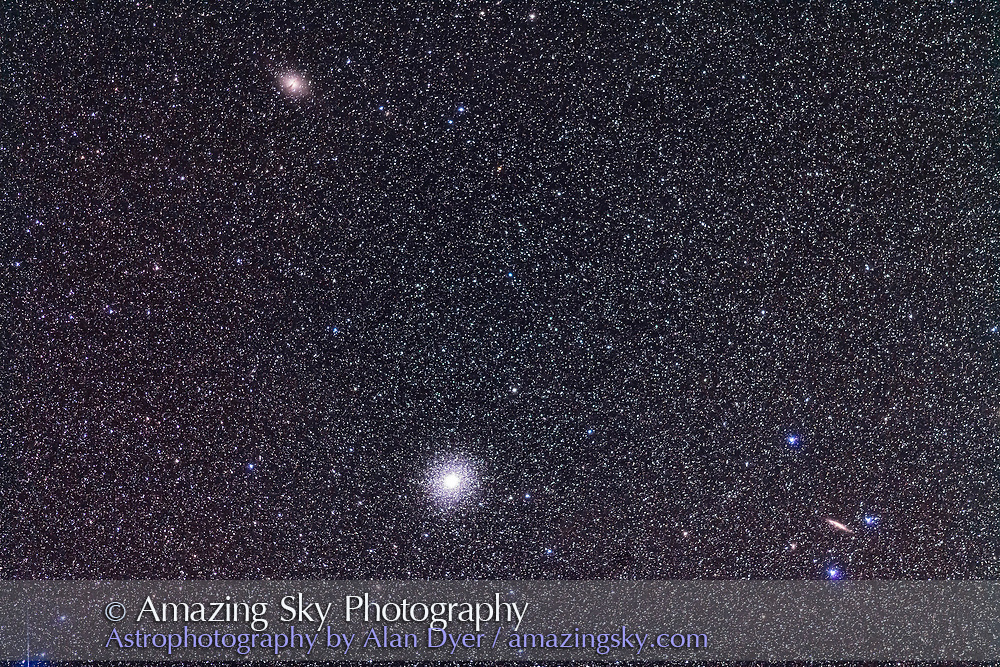 The great globular cluster and galactic nucleus remnant Omega Centauri, NGC 5139, with two galaxies in the field: Centarus A or NGC 5128, the Hamburger Galaxy, at top; and NGC 4945 at right. Ther field simulates a binocular field of view. <br /><br />This is a stack of 4 x 2-minute exposures with the 200mm telephoto at f/2.8 and Canon 5D MkII at ISO 2500.