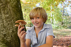 Boy holding mushroom, smiling, portrait, Bavaria, Germany