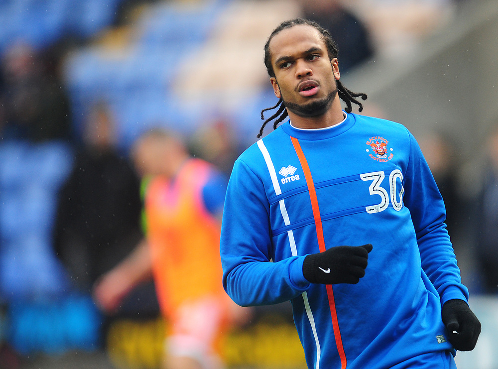Blackpool's Nathan Delfouneso during the pre-match warm-up <br /> <br /> Photographer Kevin Barnes/CameraSport<br /> <br /> The EFL Sky Bet League One - Shrewsbury Town v Blackpool - Saturday 16th December 2017 - New Meadow - Shrewsbury<br /> <br /> World Copyright © 2017 CameraSport. All rights reserved. 43 Linden Ave. Countesthorpe. Leicester. England. LE8 5PG - Tel: +44 (0) 116 277 4147 - admin@camerasport.com - www.camerasport.com