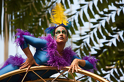 © under licence to London News Pictures. Summer 2011 Festival at Kew Gardens, Aerialist Zahara O'Brien as a tropical bird in a display the Palm House. She can be seen on 14/15 May as part of the Global Celebration Weekend which launches the Summer Festival at Kew. 10/05/2011. Photo credit should read Bettina Strenske/LNP.