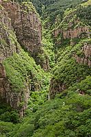 South gorge of Beiyue Hengshan, Hunyuan County, Shanxi China. 北岳恒山后山峡谷,浑源县,中国山西。