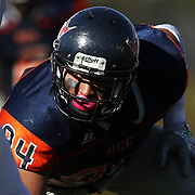 Orange Coast College defensive lineman John Snowden (94) lines up before a snap during the Southern California Football Association regular season game between the Fullerton College Hornets and the Orange Coast College Pirates at Lebard Stadium on the Orange Coast College campus on November 5, 2016.<br /> <br /> Photo by Darren Yamashita / Sports Shooter Academy