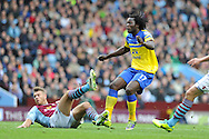 Everton's Romelu Lukaku watches as the ball goes in to the back of the net for the 1st goal.  Barclays Premier League, Aston Villa v Everton at Villa Park in Aston, Birmingham on Saturday 26th Oct 2013. pic by Andrew Orchard, Andrew Orchard sports photography,