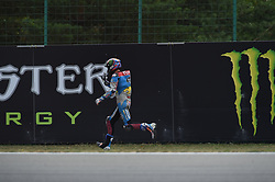 August 5, 2018 - Brno, Brno, Czech Republic - 73 Spanish driver Alex Marquez of Team EG 0,0 Marc VDS run with her moto after crash during race in Brno Circuit for Czech Republic Grand Prix in Brno Circuit on August 5, 2018 in Brno, Czech Republic. (Credit Image: © Andrea Diodato/NurPhoto via ZUMA Press)