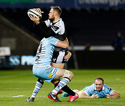 Cory Allen of Ospreys looks to offload<br /> <br /> 2nd November, Liberty Stadium , Swansea, Wales ; Guinness pro 14's Ospreys Rugby v Glasgow Warriors ;  <br /> <br /> Credit: Simon King/News Images<br /> <br /> Photographer Simon King/Replay Images<br /> <br /> Guinness PRO14 Round 8 - Ospreys v Glasgow Warriors - Friday 2nd November 2018 - Liberty Stadium - Swansea<br /> <br /> World Copyright © Replay Images . All rights reserved. info@replayimages.co.uk - http://replayimages.co.uk