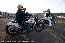 Flatheads flat track racing in the Okie Dokie Vintage Races put on by Go Takamine's Brat Style at West Point Off-Road Village, Kawagoe, Saitama, Japan. Tuesday, December 4, 2018. Photography ©2018 Michael Lichter.