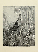 King Louis VII receiving the Cross from St. Bernard Plate XXXVII from the book Story of the crusades. with a magnificent gallery of one hundred full-page engravings by the world-renowned artist, Gustave Doré [Gustave Dore] by Boyd, James P. (James Penny), 1836-1910. Published in Philadelphia 1892