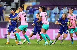 Chelsea's Ji So-yun (left) and Maren Mjelde try to get past Barcelona's Jenni Hermoso and Patricia Guijarro (right) during the UEFA Women's Champions League final, at Gamla Ullevi, Gothenburg. Picture date: Sunday May 16, 2021.