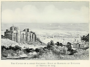 black and white photograph of The Castle of a Great Crusader: Built by Raymond of Toulouse [Raymond IV, Count of Toulouse] at Tripoli [Lebanon] in 1103 From the book Jerusalem and the crusades by Blyth, Estelle Published in London by T.C. & E.C. Jack Circa 1913