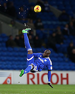 Sol Bamba of Cardiff city in action. EFL Skybet championship match, Cardiff city v Brighton & Hove Albion at the Cardiff city stadium in Cardiff, South Wales on Saturday 3rd December 2016.<br /> pic by Andrew Orchard, Andrew Orchard sports photography.