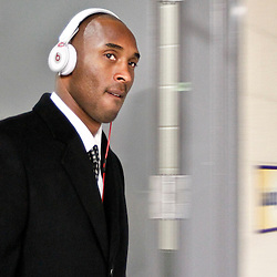 Dec 5, 2012; New Orleans, LA, USA; Los Angeles Lakers shooting guard Kobe Bryant arrives prior to tip off of a game against the New Orleans Hornets at the New Orleans Arena. Bryant needs to score 13 points to eclipse 30,000 points in his career. Mandatory Credit: Derick E. Hingle-USA TODAY Sports