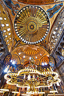 The Islamic decoration on the domes of the interior of Hagia Sophia ( Ayasofya ) , Istanbul, Turkey .<br /> <br /> If you prefer to buy from our ALAMY PHOTO LIBRARY  Collection visit : https://www.alamy.com/portfolio/paul-williams-funkystock/hagia-sophia-istanbul.html<br /> <br /> Visit our TURKEY PHOTO COLLECTIONS for more photos to download or buy as wall art prints https://funkystock.photoshelter.com/gallery-collection/3f-Pictures-of-Turkey-Turkey-Photos-Images-Fotos/C0000U.hJWkZxAbg