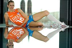 02-10-2009 VOLLEYBAL: EUROPEES KAMPIOENSCHAP FOTOSHOOT ORANJE: LODZ<br /> Debby Stam<br /> ©2009-WWW.FOTOHOOGENDOORN.NL