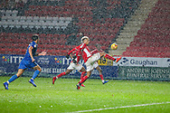 Charlton Athletic forward Lyle Taylor (9) during the EFL Sky Bet League 1 match between Charlton Athletic and AFC Wimbledon at The Valley, London, England on 15 December 2018.