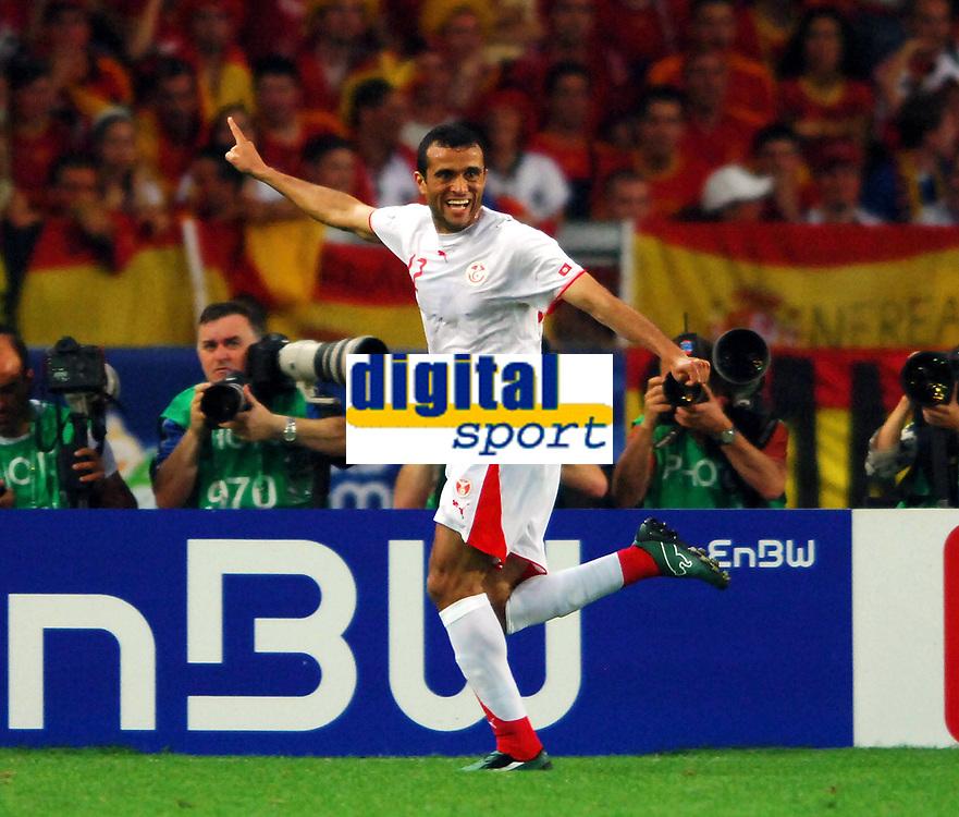 World Cup 2006 Germany Stuttgart 19/06/2006<br /> Spain v Tunisia Group H <br /> Jaouhar Mnari (Tunisia) celebrtates first goal<br /> Photo Roger Parker Digitalsport<br /> Spania - Tunisia