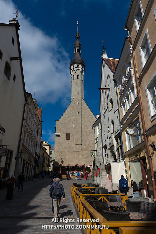 Tallinn old town architecture with town hall in the center, Tallin, Estonia