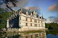 Exterior of the Renaissance Château d'Azay-le-Rideau at sunset with its River Indre moat, Built between 1518 and 1527,, Loire Valley, France .<br /> <br /> Visit our EARLY MODERN ERA HISTORICAL PLACES PHOTO COLLECTIONS for more photos to buy as wall art prints https://funkystock.photoshelter.com/gallery-collection/Modern-Era-Historic-Places-Art-Artefact-Antiquities-Picture-Images-of/C00002pOjgcLacqI