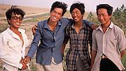 Young men in Wudaolinzi Village near Tongxin. Ningxia Province, China.
