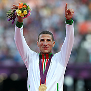 Taoufik Makhloufi, Algeria, winning the Gold Medal in the Men's 1500m Final at the Olympic Stadium, Olympic Park, during the London 2012 Olympic games. London, UK. 8th August 2012. Photo Tim Clayton