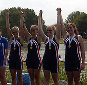 2005 Under 23's, Bosbaan Rowing Course, USA BW4-, Bow. <br /> Stesha CARLE, Catherine STARR, Megan KALMOE and Erin<br /> CAFARO, Amsterdam, NETHERLANDS. .24.07.2005  [Mandatory Credit Peter Spurrier/ Intersport Images]