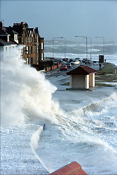 Winter storms as the waves crash on the sea front at Troon.