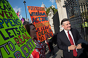 On the day the Prime Minister brings his Brexit bill for a vote at the House of Commons, Pro Brexit anti European Union Leave protesters demonstrating in Westminster debate with Labour Party politician Jon Ashworth on 22nd October 2019 in London, England, United Kingdom. Brexit is the scheduled withdrawal of the United Kingdom from the European Union. Following a June 2016 referendum, in which 51.9% of participating voters voted to leave.