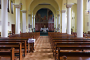 Interior of the 1930s built St. Lawrence's Catholic church in Feltham, London.