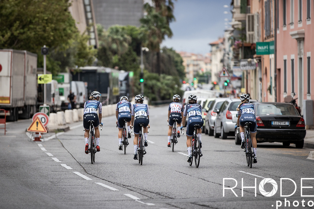 Team Trek Segafredo on their way to the start<br /> <br /> 7th La Course by Le Tour de France 2020<br /> 1 day race from Nice to Nice 96km<br /> ©kramon