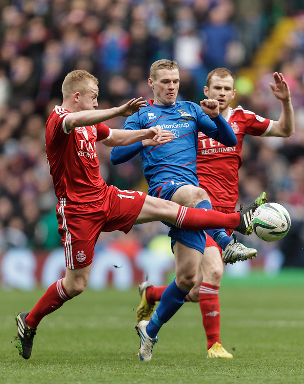 Scottish League Cup Final Aberdeen V Inverness CT at Parkhead on Sunday, 16th of March 2014, Aberdeen Scotland.<br /> Pictured: Nicky Low, Billy Mckay, Mark Reynolds<br /> (Photo Ross Johnston/Newsline Scotland)