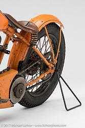 Matt Walksler of Period Modified's orange 1929 JD racer. Photographed by Michael Lichter in Sturgis, SD on August 1 2017. ©2017 Michael Lichter.