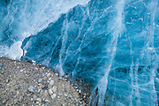Glacier ice and embedded sediment exposed on the surface of Rabotbreen, Svalbard.