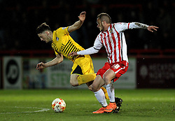 Ollie Clarke of Bristol Rovers falls under the challenge of Dean Parrett of Stevenage - Mandatory by-line: Robbie Stephenson/JMP - 19/04/2016 - FOOTBALL - Lamex Stadium - Stevenage, England - Stevenage v Bristol Rovers - Sky Bet League Two