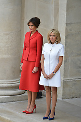 Brigitte Macron and first lady Melania Trump attend a ceremony at Les Invalides as part of the commemoration of the 100th anniversary of the entry of the United States of America into World War I on July 13, 2017 in Paris, France. Photo by Lionel Hahn/ABACAPRESS.com