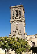 Tower of church Santa Maria de la Asuncion, Plaza del Cabildo, Arcos de la Frontera, Cadiz province, Spain