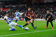 Florin Andone (10) of Brighton and Hove Albion tries to pul lthe ball back as he slides in to the 6 yard box during the The FA Cup 3rd round match between Bournemouth and Brighton and Hove Albion at the Vitality Stadium, Bournemouth, England on 5 January 2019.