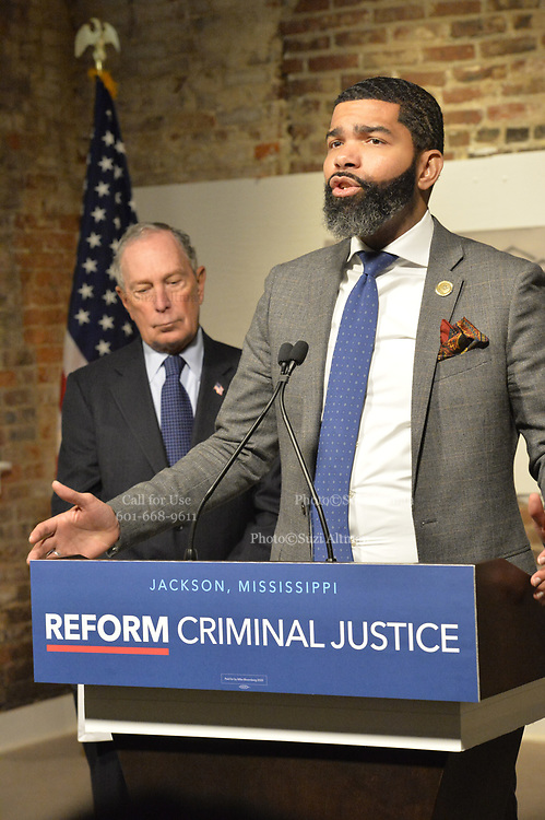"""12/3/19 Jackson,MS. Chokwe Antar Lumumba, Mayor of Jackson speaks as  former New York City Mayor Bloomberg now a Presidential candidate, listens to the Mayor speak about his plans for the city and criminal justice reform. Democratic Presidential candidate and former New York City Mayor Michael Bloomberg visits with Mayor  Chokwe Antar Lumumba at the Smith Robertson Museum. Bloomberg and the Mayor of Jackson where their to have a discussion on criminal justice reform with community leaders. Bloomberg spoke with the press after his meeting with community leaders and said he made a mistake with """"stop and frisk"""" policy in New York City and has learned from his mistakes. Photo ©Suzi Altman"""