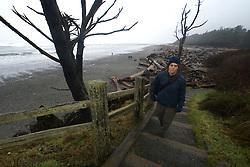 Dayhiker Approaching Kalaloch Lodge, Kalaloch, Olympic National Park, Washington, US