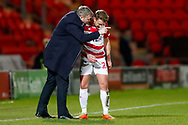 Doncaster Rovers Manager Grant McCann has words with Doncaster Rovers midfielder James Coppinger (26)  during the EFL Sky Bet League 1 match between Doncaster Rovers and Southend United at the Keepmoat Stadium, Doncaster, England on 12 February 2019.