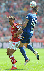 Bobby Reid of Bristol City and Angus MacDonald of Hull City compete for the highball  - Mandatory by-line: Nizaam Jones/JMP - 21/04/2018 - FOOTBALL - Ashton Gate Stadium- Bristol, England - Bristol City v Hull City - Sky Bet Championship