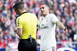 February 9, 2019 - Madrid, Spain - Lucas Vazquez of Real Madrid talking with the referee during La Liga match between Atletico de Madrid and Real Madrid at Wanda Metropolitano in Madrid Spain. February 09, 2018. (Credit Image: © Peter Sabok/NurPhoto via ZUMA Press)