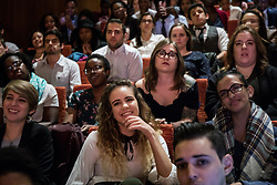 Audience members watch former President Barack Obama discuss civic engagement on Monday, April 24, 2017 at the Logan Center for the Arts on the University of Chicago campus. Photo by Zbigniew Bzdak/Chicago Tribune/TNS/ABACAPRESS.COM