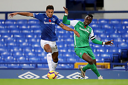 Everton's Dominic Calvert-Lewin and Gor Mahia's Haron Shakava battle for the ball during the SportPesa Trophy match at Goodison Park, Liverpool.