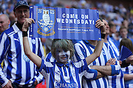 a young Sheffield Wednesday fan inside Wembley Stadium before k/o. Skybet football league Championship play off final match, Hull city v Sheffield Wednesday at Wembley Stadium in London on Saturday 28th May 2016.<br /> pic by John Patrick Fletcher, Andrew Orchard sports photography.