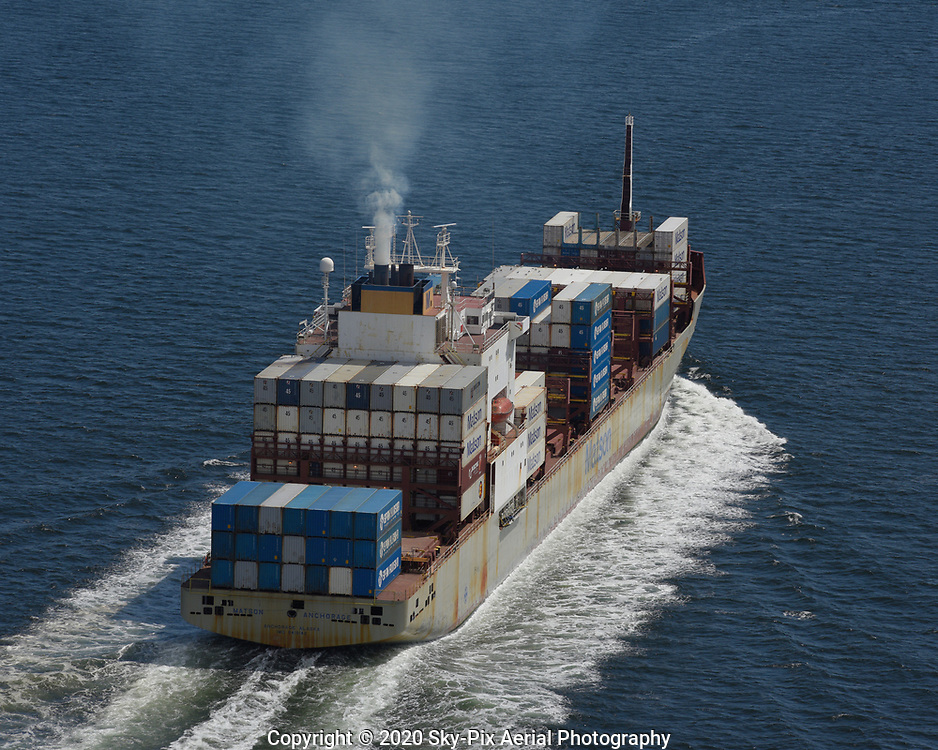 Starboard aft view of the container ship M/V Matson Anchorage underway in Puget Sound.