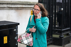© Licensed to London News Pictures. 09/01/2018. London, UK. Lord Privy Seal and Leader of the House of Lords Baroness Natalie Evans leaving Downing Street after attending a Cabinet meeting this morning. Yesterday British Prime Minister Theresa May reshuffled her cabinet, appointing some new ministers. Photo credit : Tom Nicholson/LNP