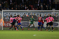 Jordan Rose of Whitehawk heads the ball to score his teams 1st goal of the match to make it 1-1. The Emirates FA Cup, 2nd round match, Dagenham & Redbridge v Whitehawk FC at the The London Borough of Barking & Dagenham Stadium in London on Sunday 6th December 2015.<br /> pic by John Patrick Fletcher, Andrew Orchard sports photography.