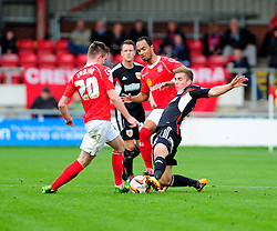 Bristol City's Joe Bryan challenges Crewe Alexandra's Oliver Turton - Photo mandatory by-line: Dougie Allward/JMP - Tel: Mobile: 07966 386802 19/10/2013 - SPORT - FOOTBALL - Alexandra Stadium - Crewe - Crewe V Bristol City - Sky Bet League One