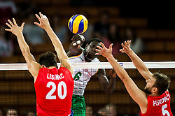 07.09.2014, Centennial Hall, Breslau, POL, FIVB WM, Serbien vs Kamerun, Gruppe A, im Bild Srecko Lisinac serbia #20 Sem Dolegombai cameroon #6 Vlado Petkovic serbia #5 // Srecko Lisinac serbia #20 Sem Dolegombai cameroon #6 Vlado Petkovic serbia #5 // during the FIVB Volleyball Men's World Championships Pool A Match beween Serbia and Cameroon at the Centennial Hall in Breslau, Poland on 2014/09/07.<br /> <br /> ***NETHERLANDS ONLY***