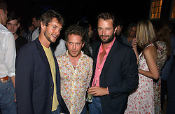 Left to right, actors HUGH DANCY, TOM HOLLANDER and JAMES PUREFOY at a party to celebrate FilmFour becoming the UK's first major free film channel held at Debenham House, Addison Road, London on 20th July 2006.<br /><br />NON EXCLUSIVE - WORLD RIGHTS